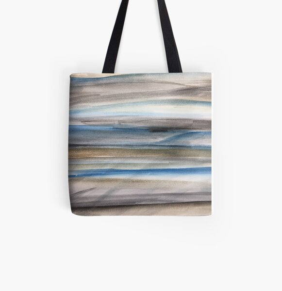 Brown and Blue Abstract All Over Print Tote Bag