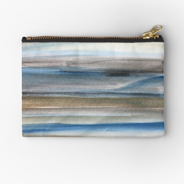 Brown and Blue Abstract Zipper Pouch