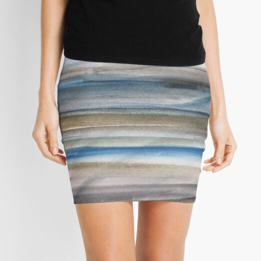 Brown and Blue Abstract Mini Skirt
