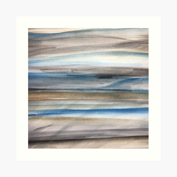 Brown and Blue Abstract Art Print