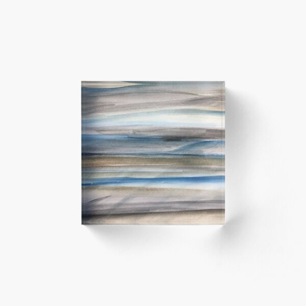 Brown and Blue Abstract Acrylic Block