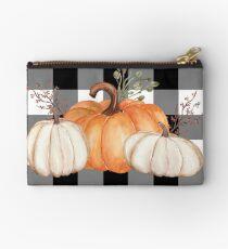 Fall Halloween Pumpkins on Black and White Buffalo Check Studio Pouch