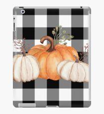Fall Halloween Pumpkins on Black and White Buffalo Check iPad Case/Skin