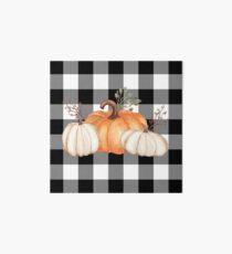 Fall Halloween Pumpkins on Black and White Buffalo Check Art Board