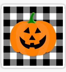 Orange Halloween Jack O' Lantern Pumpkin on Black and White Buffalo Check Sticker