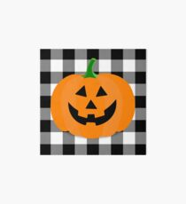 Orange Halloween Jack O' Lantern Pumpkin on Black and White Buffalo Check Art Board