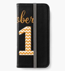 Halloween October 31 Orange Chevron on Black iPhone Wallet/Case/Skin