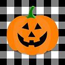 Orange Halloween Jack O' Lantern Pumpkin on Black and White Buffalo Check by Ann Drake