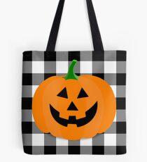 Orange Halloween Jack O' Lantern Pumpkin on Black and White Buffalo Check Tote Bag
