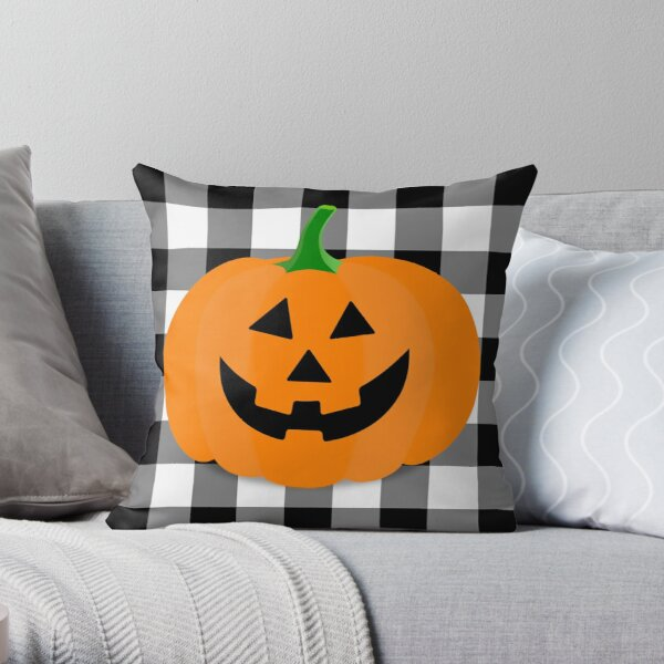 Orange Halloween Jack O' Lantern Pumpkin on Black and White Buffalo Check Throw Pillow