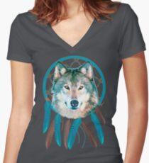 Spirit Wolf Dream Catcher Women's Fitted V-Neck T-Shirt