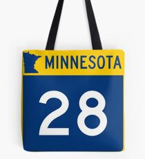 Minnesota Trunk Highway MN 28   United States Highway Shield Sign Sticker Tote Bag