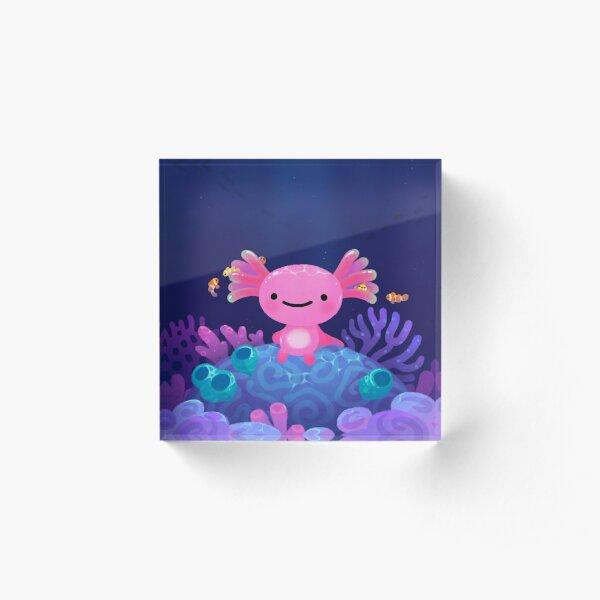 Coral axolotl Acrylic Block