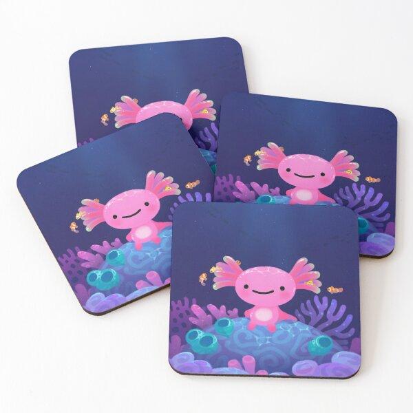Coral axolotl Coasters (Set of 4)