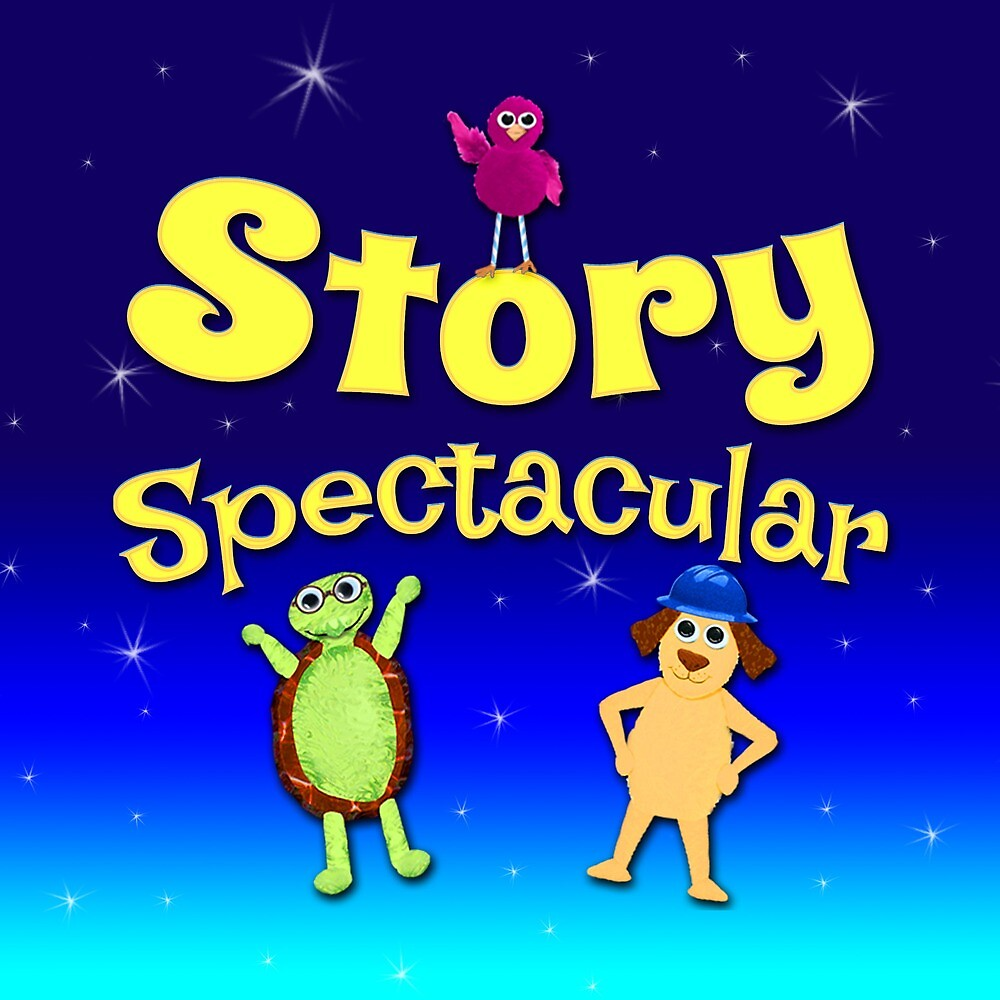 Story Spectacular Kid's Podcast Logo in Yellow & Blue by Storytacular by Storytacular