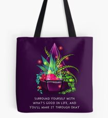 """""""Surround Yourself With What's Good in Life"""" Terrarium Dragon Tote Bag"""