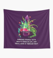 """Surround Yourself With What's Good in Life"" Terrarium Dragon Wall Tapestry"