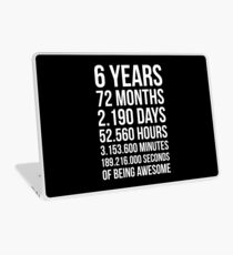 Awesome 6th Birthday Shirt Funny 6 Year Old Birthday Gift Laptop Skin