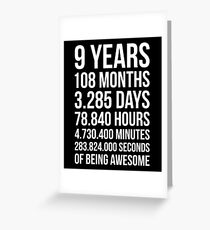 Awesome 9th Birthday Shirt Funny 9 Year Old Gift Greeting Card