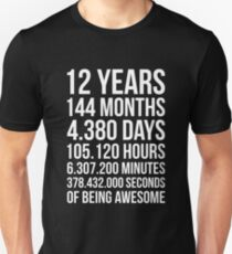 Awesome 12th Birthday Shirt Funny 12 Year Old Gift Unisex T