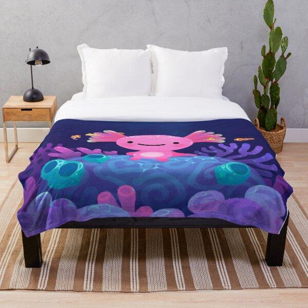 Coral axolotl Throw Blanket