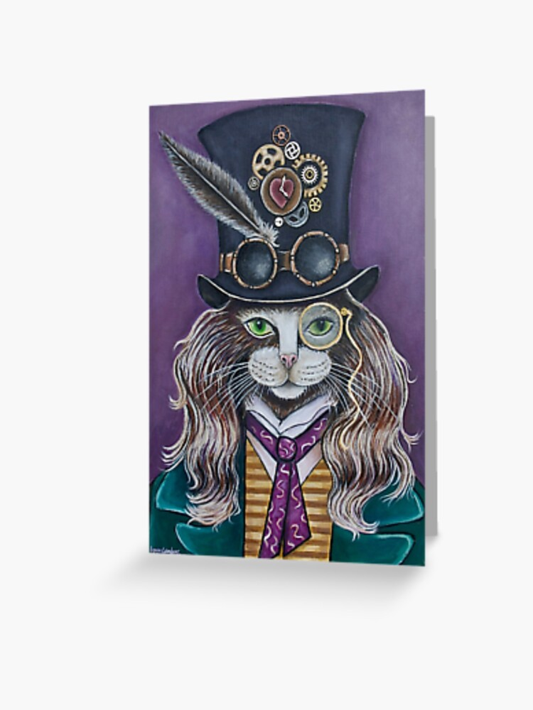 Steampunk Cat Greeting Card By Catequilcat Redbubble