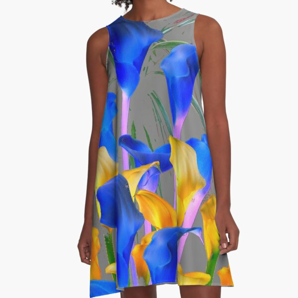 GREY MODERN ABSTRACT BLUE & GOLD CALLA LILY  A-Line Dress