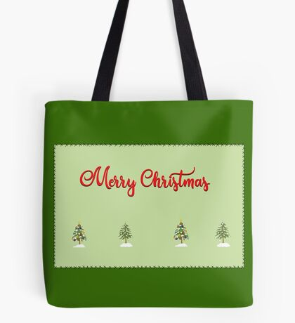 Merry Christmas Trees Stitches Tote Bag