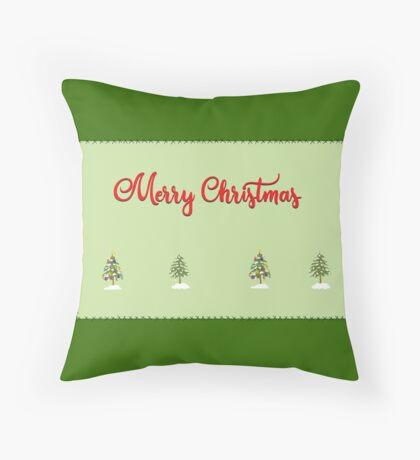 Merry Christmas Trees Stitches Throw Pillow