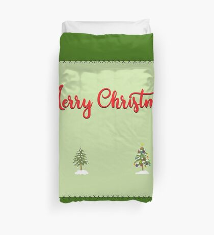 Merry Christmas Trees Stitches Duvet Cover