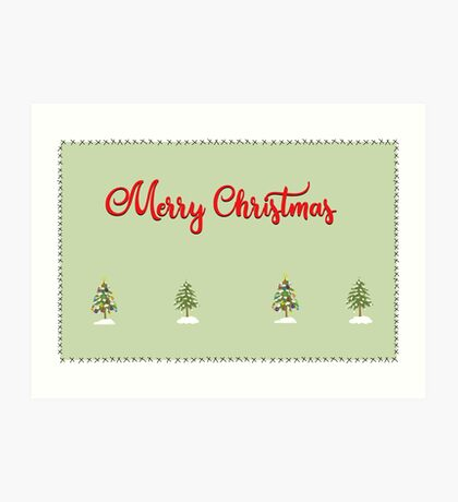 Merry Christmas Trees Stitches Art Print