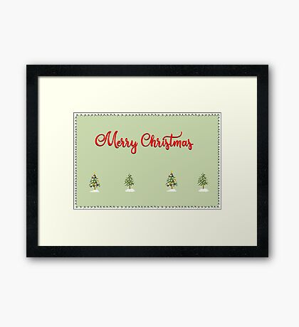 Merry Christmas Trees Stitches Framed Print