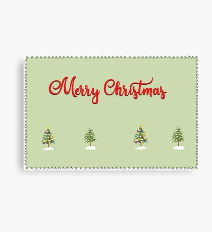 Merry Christmas Trees Stitches Canvas Print