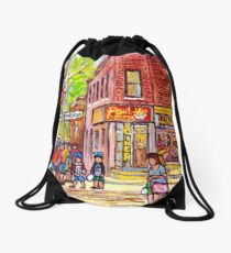POINTE ST CHARLES CORNER DINER CHARLEVOIX AND COLERAINE BEAUTIFUL MONTREAL SUMMER STREET C SPANDAU Drawstring Bag