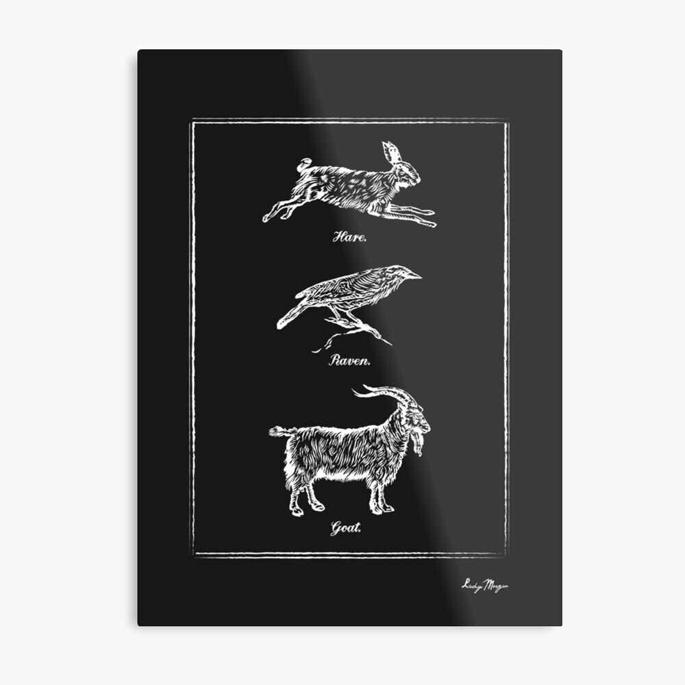 Hare, Raven, Goat Metal Print