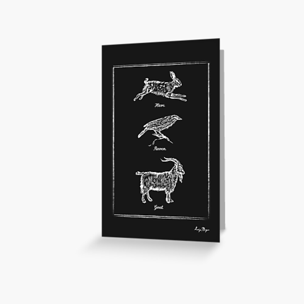 Hare, Raven, Goat Greeting Card