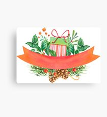 Christmas Banner Holly and Present Design Canvas Print
