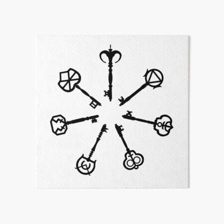 The Tale of the Seven Keys (Black Minimal) Art Board Print