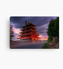 Pagoda Overlooking City of Reading, PA at Sunset. Canvas Print