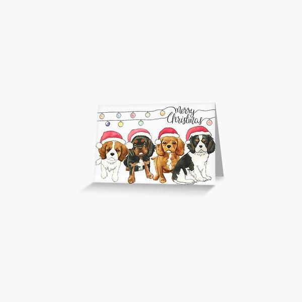 Cavalier King Charles Spaniel Christmas Card - Puppies Greeting Card