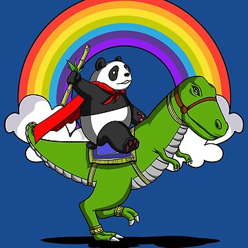 Panda Bear Riding T-Rex Dinosaur Rainbow Party Funny by underheaven
