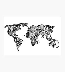 Map of the World Zentangle Photographic Print