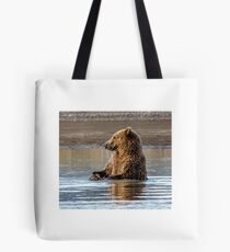 Bear Cub Playing in the Water Tote Bag