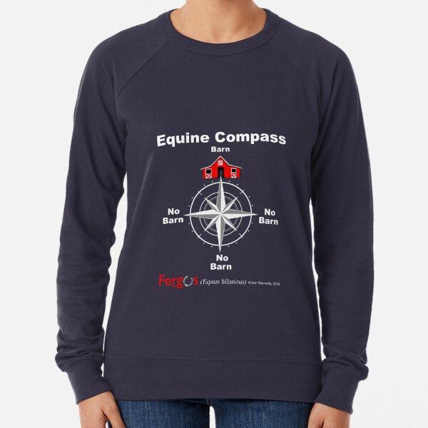 Fergus the Horse: Equine Compass (white) Lightweight Sweatshirt
