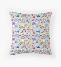 Watercolor Mushroom Pattern on Gray Throw Pillow