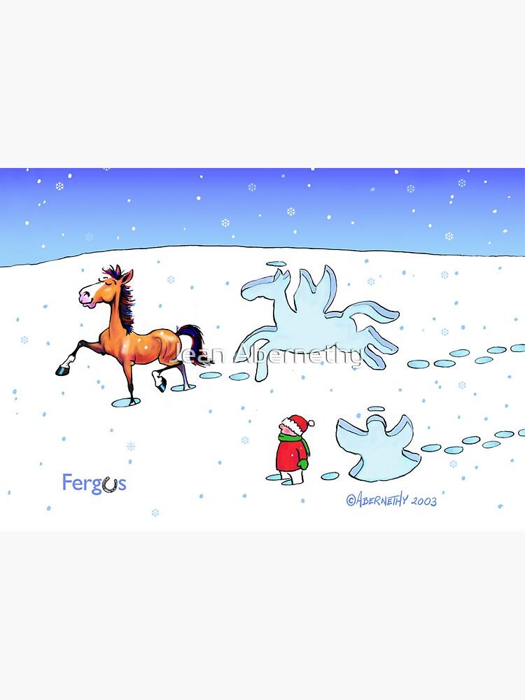Fergus the Horse: Snow Angel Card by JeanAbernethy