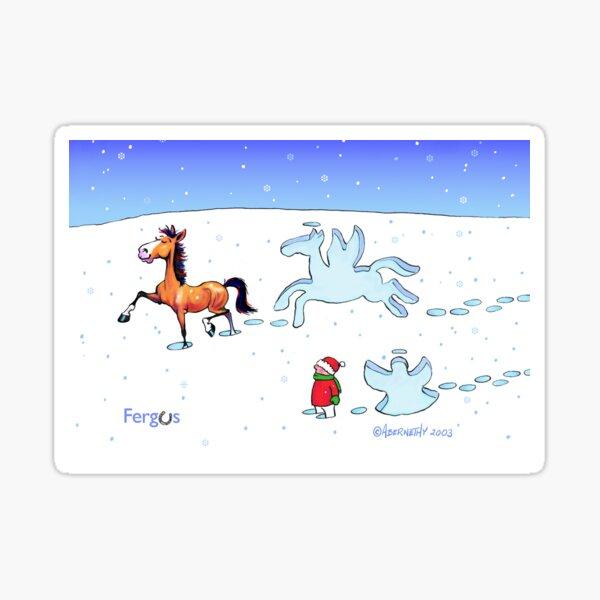 Fergus the Horse: Snow Angel Card Sticker