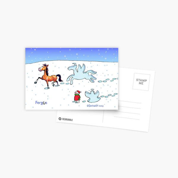 Fergus the Horse: Snow Angel Card Postcard