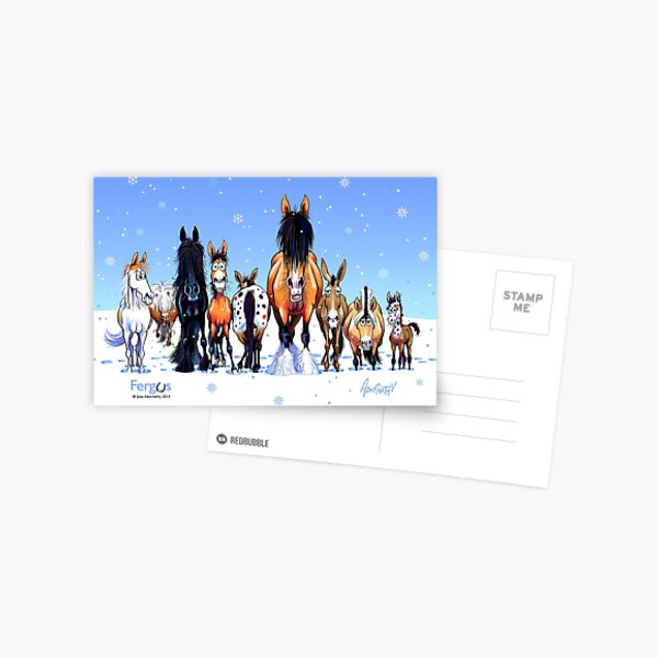 Fergus the Horse: Winter Lineup Card Postcard