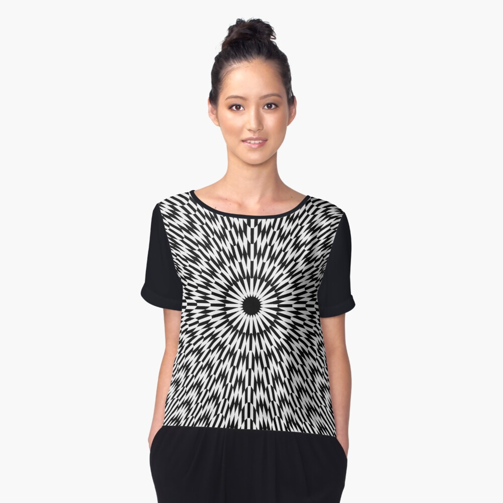 #abstract #pattern #design #texture #fractal #blue #light #illustration #black #wallpaper #white #art #digital #star #yellow #decorative #graphic #explosion #geometric #backdrop #red #lines #color Women's Chiffon Top Front
